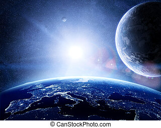 Earth surface with planets around