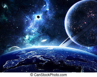 Earth surface with planets around - Earth surface with city...