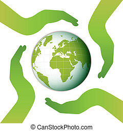Earth surrounded by four hands.