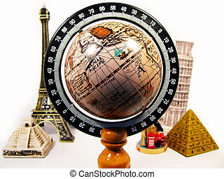 earth surrounded by monuments in the world