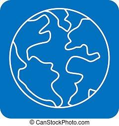 Earth symbol. Planet concept. Globe icon. Flat vector illustration