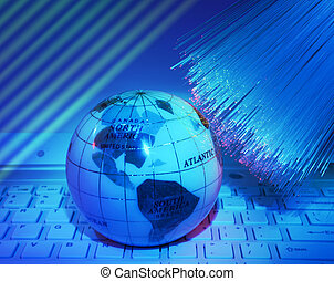 earth technology style against fiber optic background