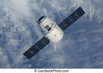 earth., to, satelita, nad, nasa, przestrzeń, wizerunek, dostarczony, elementy