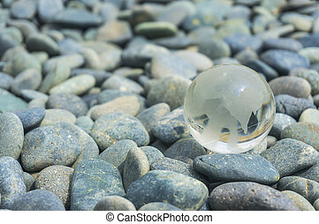Earth transparent glass with stone