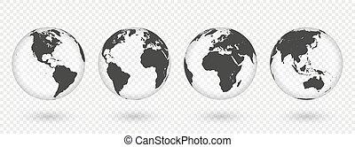 earth., transparent, glober, världen kartlägger, realistisk, sätta, klot