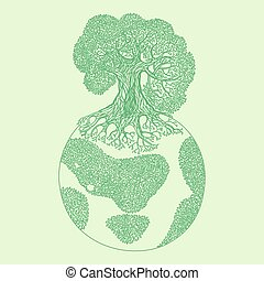 Earth tree ecology concept illustration.
