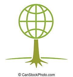 earth tree symbol vector