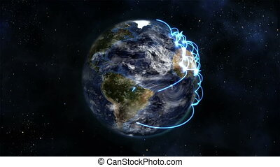 Earth turning on itself with moving clouds and blue...