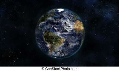 Earth turning on itself with moving