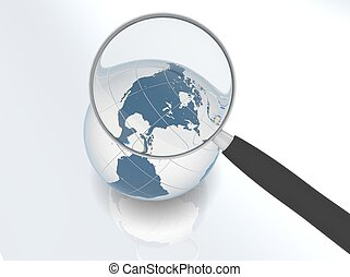 Earth under magnifier
