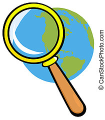 Earth Under Magnifying Glass Cartoon Character
