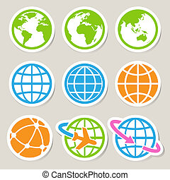Earth vector icons set.