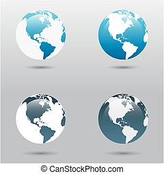 Earth vector icons set in different colors