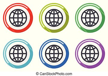 Earth vector icons, set of colorful flat design internet symbols on white background