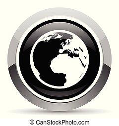 Earth vector steel icon. Chrome border round web button....