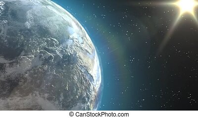Earth view - Beautiful animation of the Earth from outer...