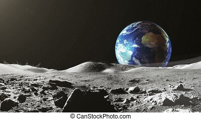 Earth view from the Moon surface