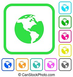 Earth vivid colored flat icons icons
