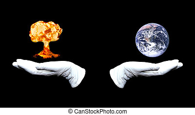 Earth vs Nuclear Blast - Hands in white gloves holding Earth...