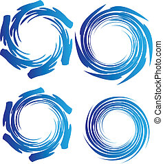 Earth water waves circle logo vector