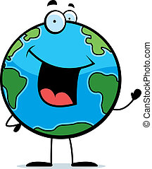 A happy cartoon planet Earth waving and smiling.