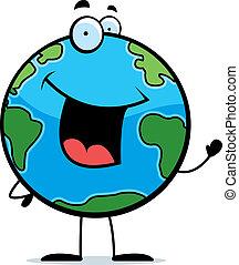 Earth Waving - A happy cartoon planet Earth waving and...