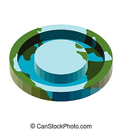 Earth with a 3d flat shape