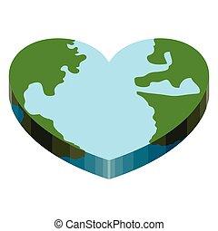 Earth with a 3d heart shape