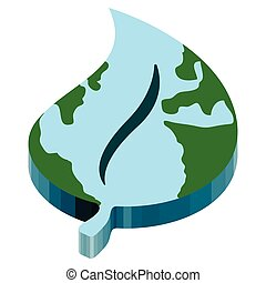 Earth with a 3d leaf shape