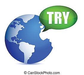 Earth with a try message bubble