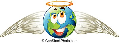 Earth with angel wings