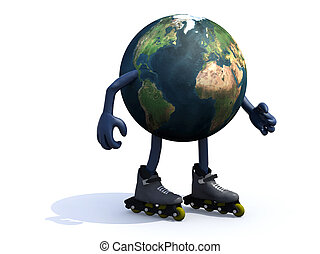 earth with arms, legs and rollerskates, 3d illustration