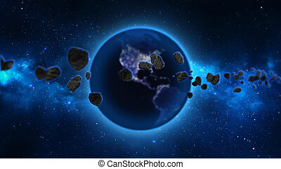 Earth with asteroids in space