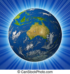 Earth model planet featuring The continent of Australia surrounded by blue ocean and clouds isolated on radial background.