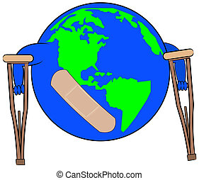 earth with bandaid on crutches