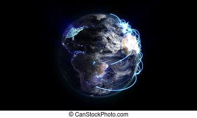 Earth with blue connections