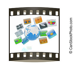 Earth with cloud of media application Icons. The film strip