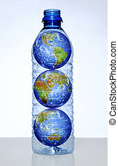 Earth with Continents in Water Bottle - Earth with ...