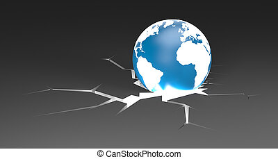Earth with cracked ground - Conceptual 3d image. Business...
