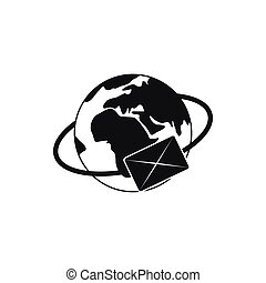 Earth with envelope icon, simple style