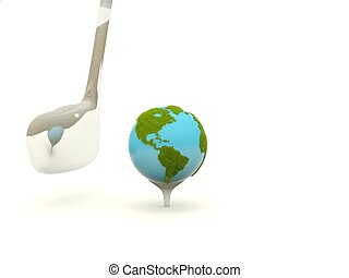 Earth with golf club isolated on white
