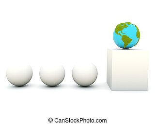 Earth with grass on podium isolated on white