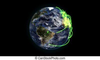 Earth with green connections in movement with moving clouds...