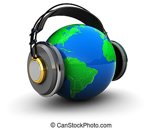 earth with headphones - abstract 3d illustration of earth...