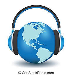 Earth with headphones. World music concept high detailed 3d...