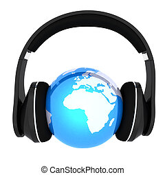 earth with headphones. World music concept isolated on white...