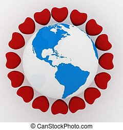 earth with hearts. conception of love in the whole world
