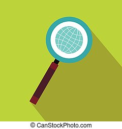 Earth with magnifying glass search icon flat style