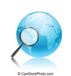 Earth with magnifying lens on a white background