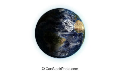 Earth with moving clouds and shadow with Earth image...